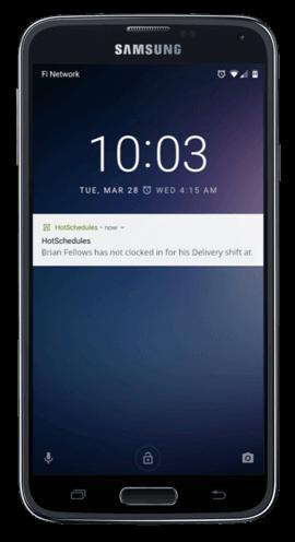 Webclock punch alert on Samsung phone
